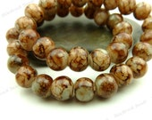 Dark Caramel Brown and White Round Glass Beads - 6mm Smooth, Shiny, Mottled Beads - 32pcs - BL21