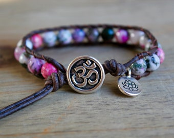 ohm bracelet, yoga jewelry, lotus jewelry, charm bracelet, leather beaded wrap, ohm namaste jewelry