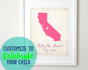 Birth Date Love Any State or Country Customizable Art 8x10 Print Baby Shower Gift