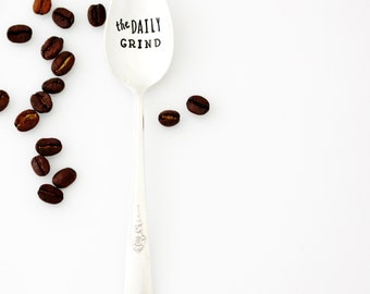 The Daily Grind. Stamped Coffee Spoon. Hand stamped silverware, Coffee Lover Gift Idea by Milk & Honey.