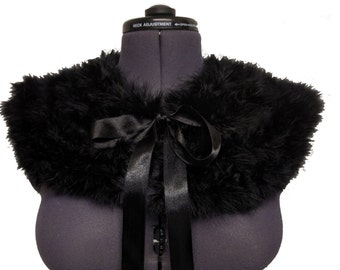 Handmade Marabou Collar Cape Caplet with vintage satin lining Swansdown Feather