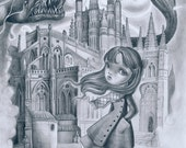Hovering Shadows LIMITED EDITION print signed numbered Simona Candini Pop Surreal Lowbrow Architecture Cathedral, child big eyes tattoo art