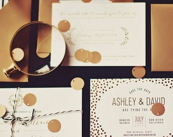 Gold Foil Wedding Invitation: Floral and Classic