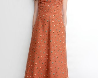 Vintage 1970s Boho Chic Pinafore Maxi Dress - '70s Prairie Dress - Size Small