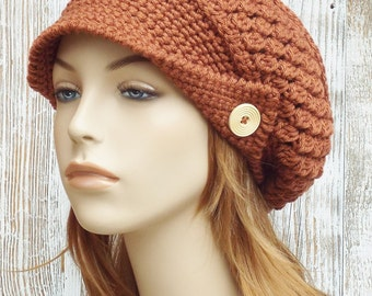 Crochet Newsboy Hat - Copper Orange Hat - Womens Slouchy Newsboy Beanie Hat - Winter Brimmed Slouchy Hat // THE FINLEY //