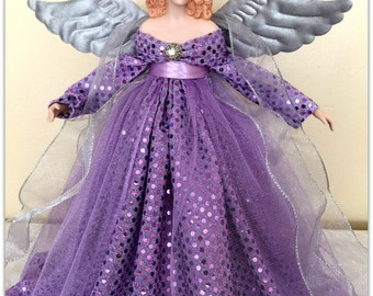 Christmas Angel, Tree Topper, Red Haired Angel, Lavender TreeTopper,  Holiday Decoration