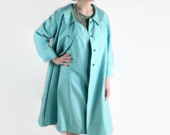 60s Suit / Mad Men / Wedding / Wiggle Dress / Coat / Blue / Rhinestones / Bling