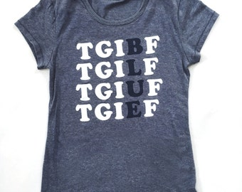 TGIBF - BLUE FRIDAY Women's Tri-Blend Navy T-Shirt