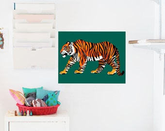 Tiger Poster / Decal Poster / 18x24 / Statement Art / Animal Art / Removable Wallpaper