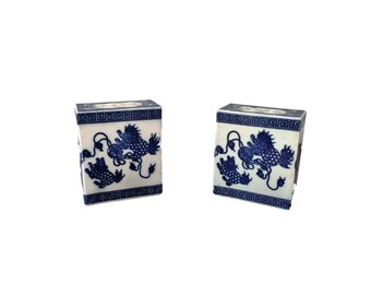 Pair of Blue and White Chinoiserie Oriental Chinese Porcelain Boxes