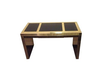 Gorgeous Vintage Brass and Black Leather Writing Desk Gold Hollywood Regency Mid Century Chinoiserie