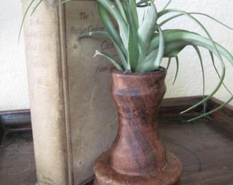 Vintage Rustic Wood Vase Candle Holder