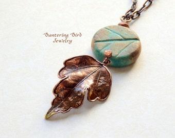 Leaf Necklace, Autumn Leaves Pendant, Copper Green Ceramic Leaf Bead, Copper Oak Leaf, Layered Long Necklace, Fall Boho Copper Jewelry