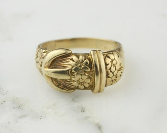 Vintage Gold Buckle Ring - 9k Gold