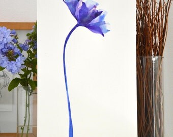 A4 Original blue purple tulip flower painting- ink art wall art tulip floral spring wall decor modern minimal drawing by Cristina Ripper