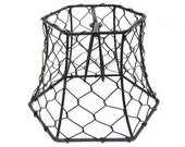 "Chicken Wire Lampshade Clip On 5.75"" Black Hex Wire Lamp Shade Lighting Supply Chandelier Industrial Bridal Wedding Decor Rustic Hexagon"