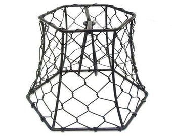 Chicken Wire Lampshade Clip On Small Black Hex Wire Lamp Shade Lighting Supply Chandelier Industrial Rustic Wedding Decor Lighting Design