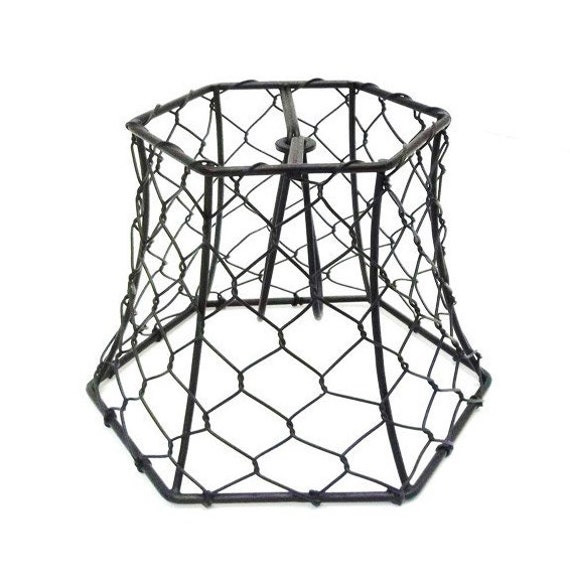 Chicken Wire Lampshade Clip On Small Black Hex Lamp Shade