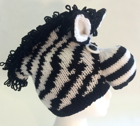 Knitting Pattern For Zebra Hat : PATTERN_Knit Zebra Hat from ROFLHatFactory on Etsy Studio