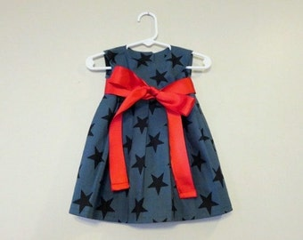 Toddler Dress 12-18m, 18-24m, or 2T, Navy with Stars and Red Ribbon