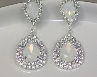 White Opal Earrings, Rhinestone earrings, Drop Earrings, Wedding Earrings, Crystal Earrings