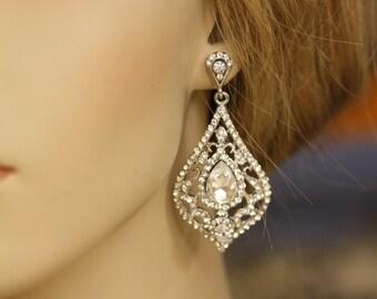 Victorian, Vintange Bridal Earrings, Crystal Earrings, Rhinestone , Wedding Jewelry, Chandelier Earrings, Swarovski, Drop Earrings, Filigree