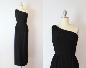 vintage 50s evening dress / 1950s beaded column dress / asymmetrical one shoulder dress / black formal dress / deadstock dress