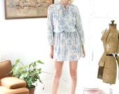 Vintage 70 Boho Toile Floral Pastel Blue Dress