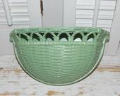 Wall Pocket Planter Vintage Homco Wicker Basket Look