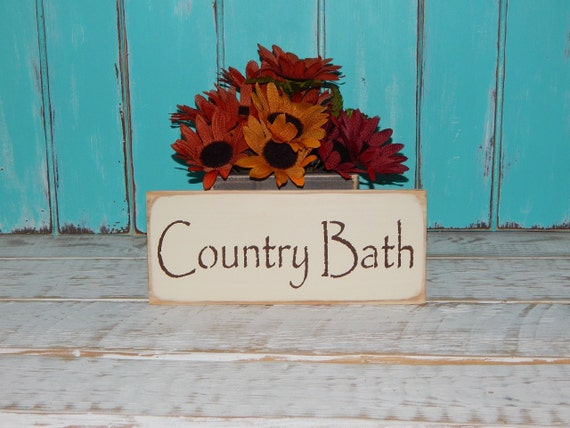 Country Bathroom Decor: Bathroom Sign Country Bath Wall Decor Cottage Chic Country