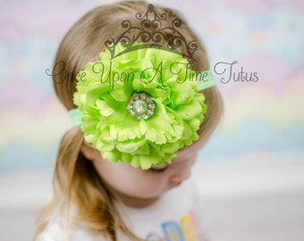 Lime Green Dahlia Flower Headband - Oversized Flower Hair Bow - Newborn Baby Girl Photo Prop Hairbow Hair Piece - Big Summer Wedding Bow