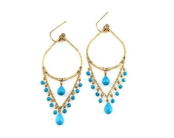 Made To Order Long Dramatic Turquoise Chandelier Earrings - Gold Cascading Turquoise Earrings - Bold Gold Bohemian Stone Turquoise Earrings