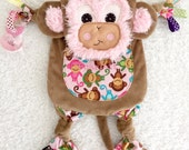 Baby Monkey Personalized Lovey Tag Cuddle Blanket Toy Pacifier Friend