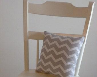 Small Grey and White Chevron Pillow
