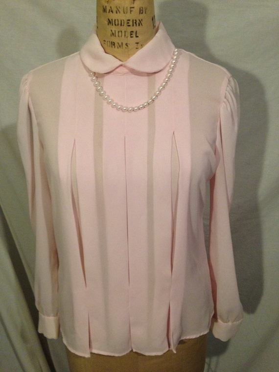 Vintage Light Pink Long Sleeve Blouse s26