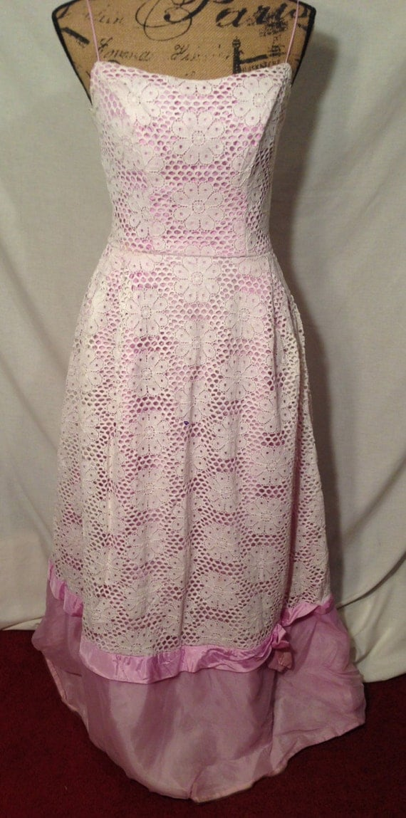 Vintage Purple and White Lace Strap Dress Handmade D75