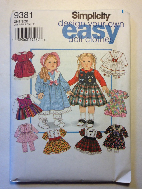 "Design Your Own Wardrobe for 18"" Doll Simplicity Vintage Sewing Pattern 9381 90s"