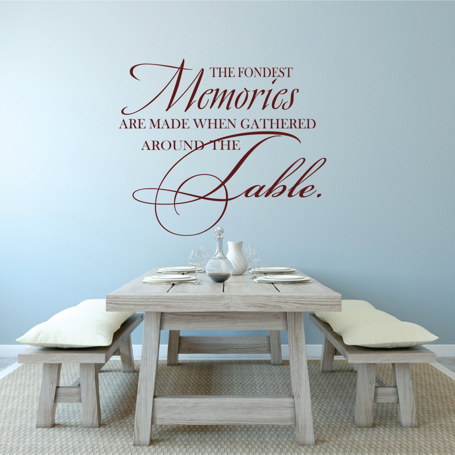 Dining room decal family wall decal dining table decal for Dining room wall decals