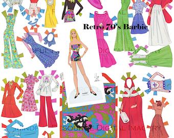 Retro Barbie Vintage Fashion Paper Doll 1976 Retro Groovy Costumes Printable Digital Download Barbie Birthday Party