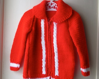 Vintage bright red handknit sweater / 1970s red & white cableknit sweater jacket / Vintage knit jumper / toddler size 12 to 24 months