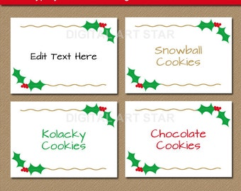 Printable Christmas Buffet Cards - Holly Labels with Gold Accents - EDITABLE Christmas Food Labels - Holiday Place Cards - Christmas Labels