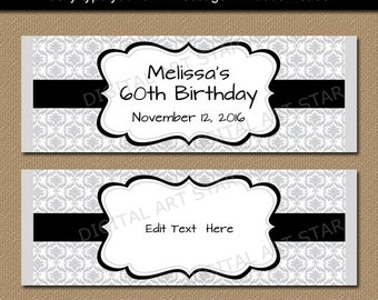 Birthday candy bar wrapper template chocolate wrappers baby silver black candy wrappers birthday candy bar wrapper template printable damask candy labels pronofoot35fo Choice Image