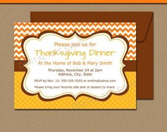 PRINTABLE Thanksgiving Dinner Invitation - Editable Fall Invitations - Fall Signs Fall Decor - Thanksgiving Signs - Thanksgiving Invites T1