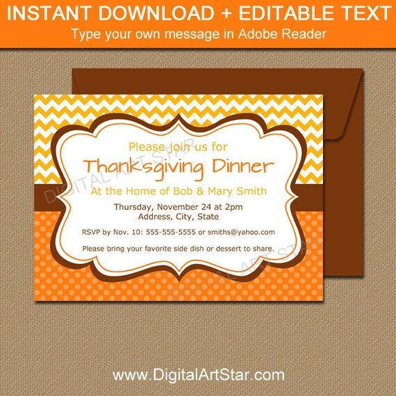 Thanksgiving Invitation Printable Thanksgiving Dinner Invitation
