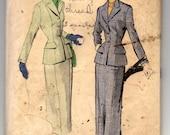 "1940's Advance Two Piece Suit pattern - Bust 34"" - No. 5927"