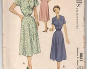 "1950's McCall's One-Piece Cape sleeve Dress Pattern - Bust 34"" - No. 8841"