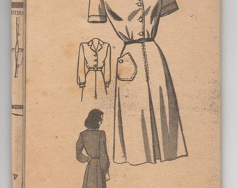 "1950's Marian Martin One Piece Shirtwaist Dress pattern - UNCUT - Bust 36"" - No. 9167"