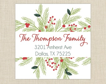 Square return address labels, self-adhesive. Christmas Labels Set of 72