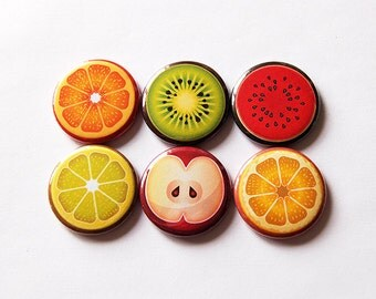 Fruit magnets,  Button magnets, Fridge Magnet, Food Magnets, Orange, Lime, Apple, Watermelon, Lemon, Kiwi, Kitchen Magnets (5634)