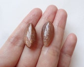 A Grade Goldsand Moonstone Half Top Drilled Flat Marquise Drops 10x20x6 mm  One Pair L4169